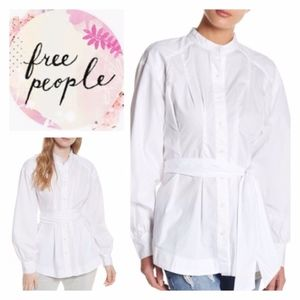 Free People Abbey Tunic Belted White Button Down